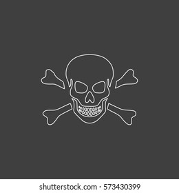 Skull Simple flat button. Contour line white icon on black background. Illustration symbol