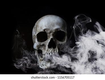 Skull in smoke