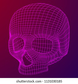 Skull Wireframe Low Poly Mesh. 3d render illustration technology live and death concept