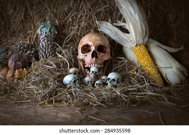 Skull and withered fruit on straw, Still Life image
