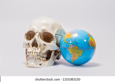 Skull with the world on a white background