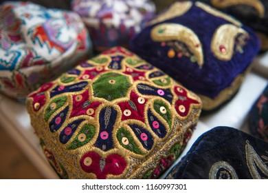 Skullcap. Kazakh skullcap. National Uzbek souvenir. Skull cap. National Uzbek souvenir. Kazakhstan. Almaty. Тюбетейка.