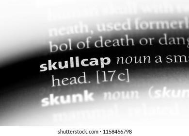skullcap word in a dictionary. skullcap concept.