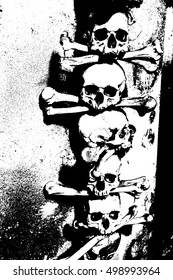 Skulls and bones in the Bone Church ossuary,  Kutna Hora, Czech Republic