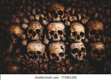 skulls and bones in Paris Catacombs France