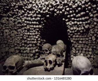 Skulls in Kostnice church in the Czech republic town of Kutna Hora. Czech landmarks