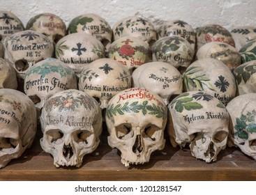 Skulls in ossuary, Karner St. Michael's Chapel, Lake Hallstatt, Salzkammergut, a UNESCO World Heritage Hallstatt-Dachstein Salzkammergut, Upper Austria, Austria, Europe, 13. October 2016