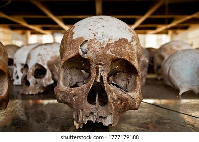 Skulls of victims at The Killing Fields