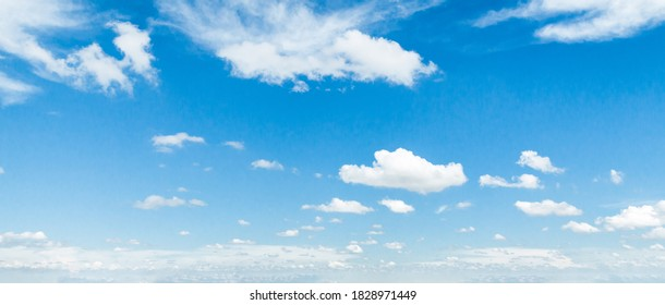 Sky background, blue sky with white clouds