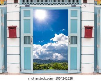 Sky background door