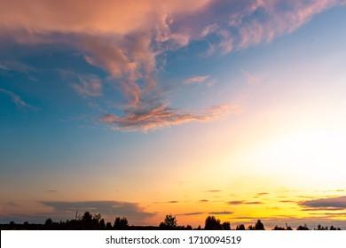 Sky background on sunset. Nature composition. Summer background.