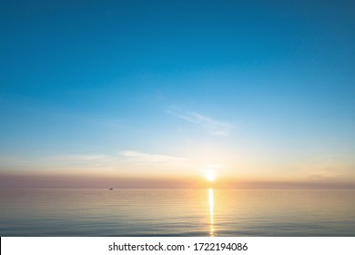Sky background and sea sunset. Nature scene.