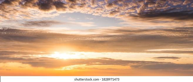 Sky background, sunset at golden hour