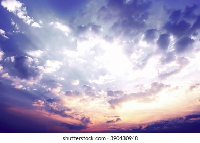 Sky background, the sunset over