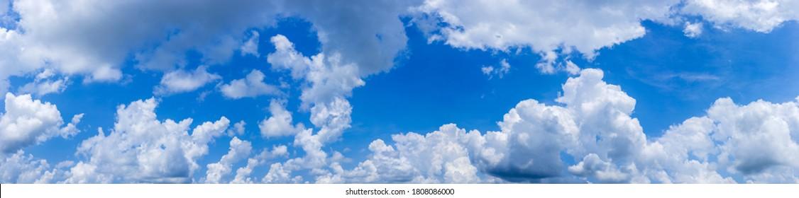 ฺBlue sky background with tiny clouds.Panorama