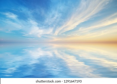 Sky background and water reflection. Element of design.
