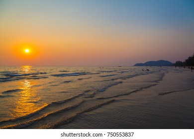 Sky and beach before sunset background