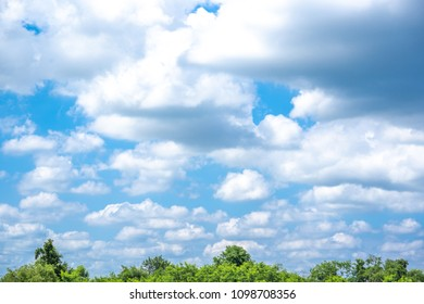 Sky blue or azure sky and clouds on forest background. Everything lies above surface atmosphere outer space is sky. Cloud is aerosol comprising visible mass of liquid droplets frozen in air.