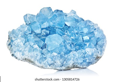 Sky Blue Celestine Crystal Stone macro mineral gemstone. Natural Azure rough Celestite crystals cluster isolated on white background