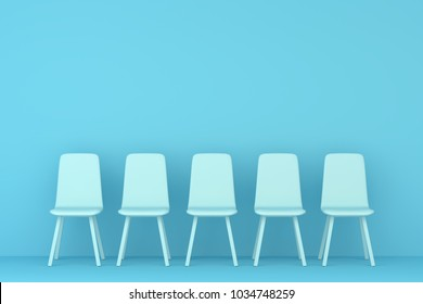 sky blue chair in a sky blue living room. Minimal style concept. pastel color style.