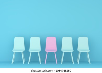 sky blue chair and pink chair in a sky blue living room. Minimal style concept. pastel color style.