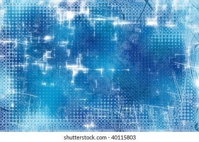 Sky Blue Halftone Sparkles