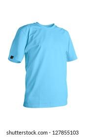 Sky blue t-shirt isolated on white background