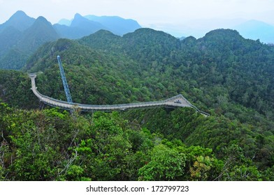 Sky bridge and rain forest in Malaysia