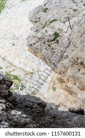 Sky bridge, via ferrata, sella group, dolomites, italy