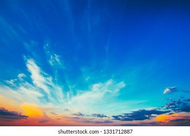Sky, Bright Blue, Orange And Yellow Colors Sunset (Sunrise). Instant Photo, Toned Image
