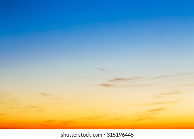Sky, Bright Blue, Orange And Yellow Colors Sunset. Instant Photo, Toned Image. Gradient Background