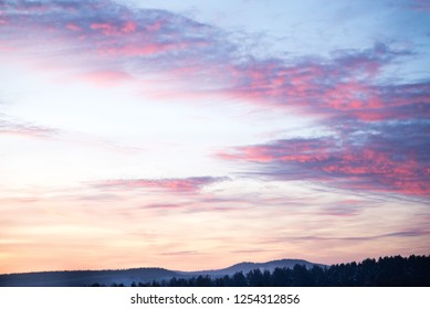 Sky, Bright Blue, Pink Colors Sunset. Instant Photo, Toned Image