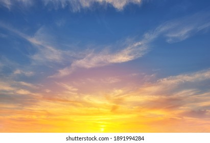 The sky with cloud beautiful Sunset background.