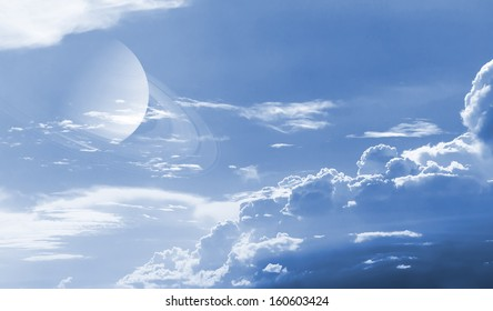 Sky with cloud and planet. Elements of this image furnished by NASA.