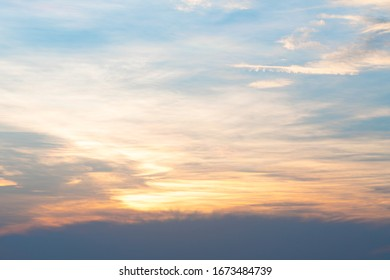 Sky and cloud in sunset. Background Sunset cloud in evening.