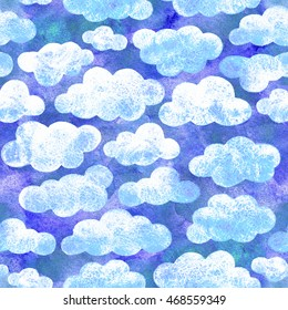 Sky with clouds, beautiful seamless illustration. Watercolor hand drawn raster design.