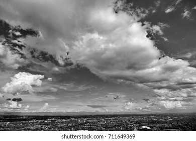 Sky with clouds in black and white