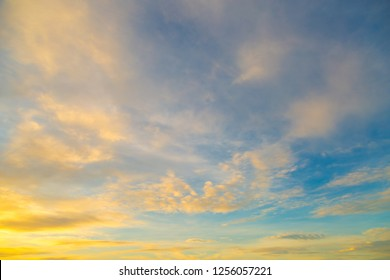 Sky and clouds in golden moment nature background