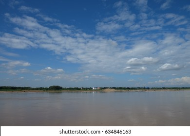 Sky with clouds in the Mekong River at Nong Khai Province, Thailand.