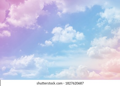 Sky and clouds on a beautiful pastel background. Abstract sweet dreamy colored sky background