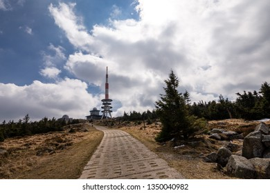 Sky with clouds on the summit of mount Brocken in the Harz national Park