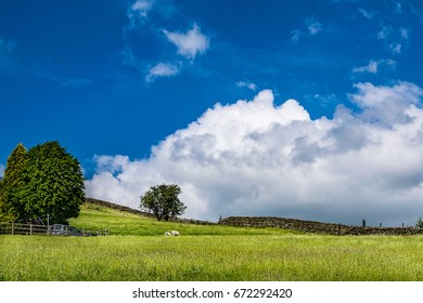 Sky and clouds over an English countryside on springtime in Forest of Bowland, Lancashire, England UK