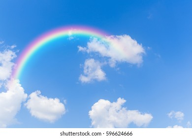 Sky and clouds with rainbow