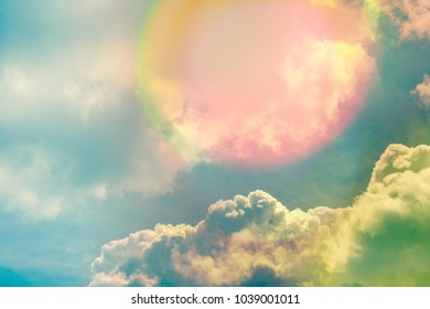 Sky with clouds and sunlight, natural background