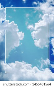sky and cloudy day background with frame for graphicdesign