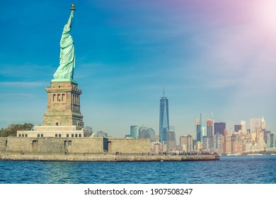 Sky colors on the background of Statue of Liberty, New York City.