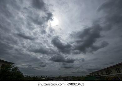 The sky is dark black rain