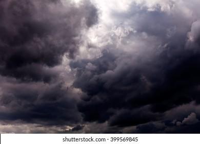 Sky with dark grey clouds before rain