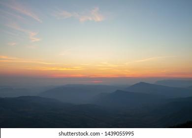Sky, dawn light and mountain