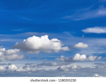 Sky with dramatic clouds. Natural background. Cloudscape with copy space. Side view.
